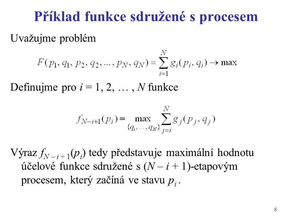 9 Funkcionální rovnice Pro funkce f N – i + 1 (p i ) (i = 1, 2, …, N) platí Tímto způsobem je N-rozměrný optimalizační problém převeden na posloupnost jednorozměrných problémů, které se řeší postupně pro i = N, N–1, …, 1.