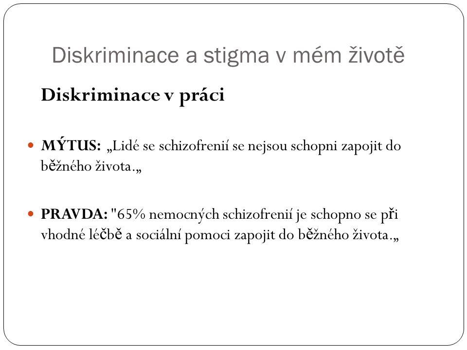 Diskriminace a stigma v mém životě Diskriminace ve vzd ě lání Mýtus: Lidé nemocní schizofrenií jsou mentáln ě retardovaní.
