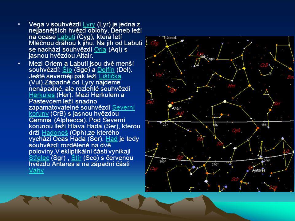 Vega v souhvězdí Lyry (Lyr) je jedna z nejjasnějších hvězd oblohy. Deneb leží na ocase Labuti (Cyg), která letí Mléčnou dráhou k jihu. Na jih od Labut