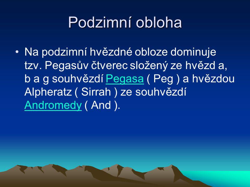 Podzimní obloha Na podzimní hvězdné obloze dominuje tzv. Pegasův čtverec složený ze hvězd a, b a g souhvězdí Pegasa ( Peg ) a hvězdou Alpheratz ( Sirr