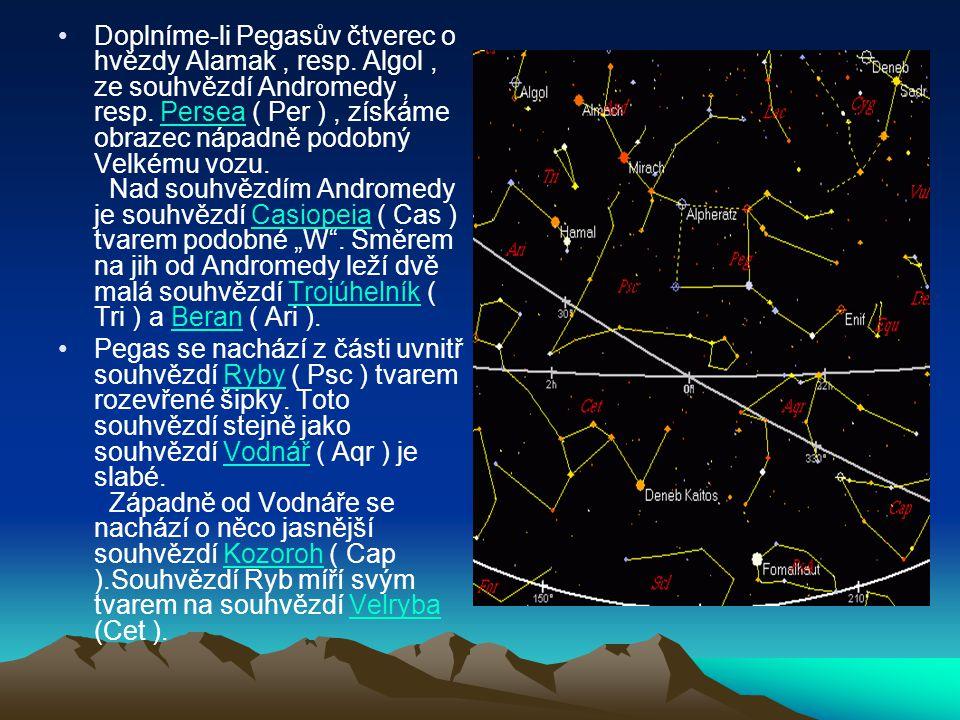 Doplníme-li Pegasův čtverec o hvězdy Alamak, resp. Algol, ze souhvězdí Andromedy, resp. Persea ( Per ), získáme obrazec nápadně podobný Velkému vozu.