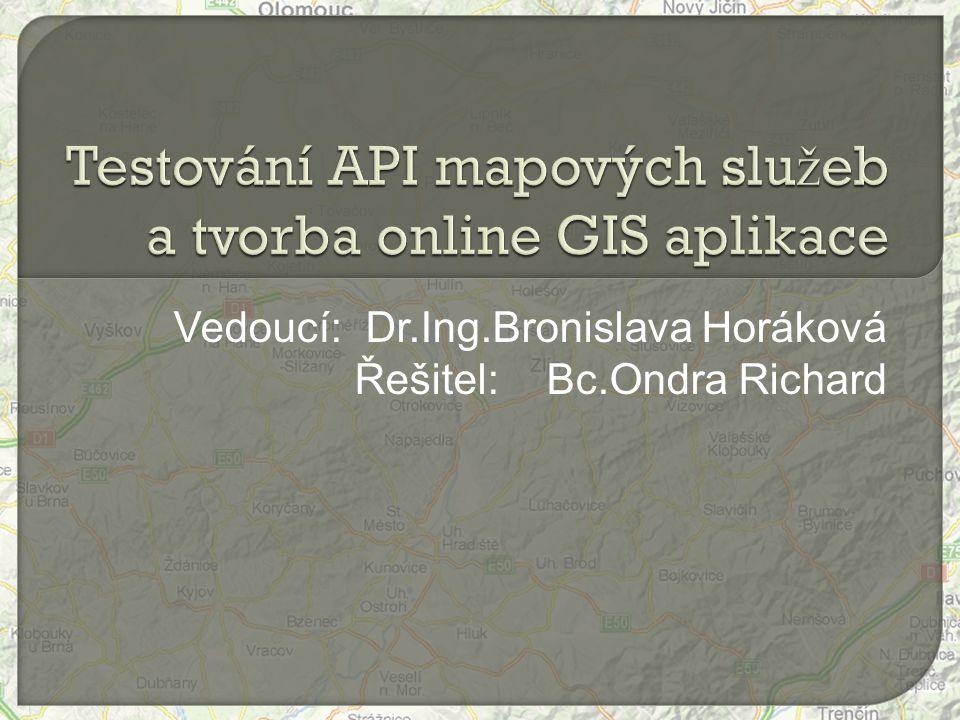  Cíl práce  API mapových aplikací  AJAX  Vytvořená aplikace