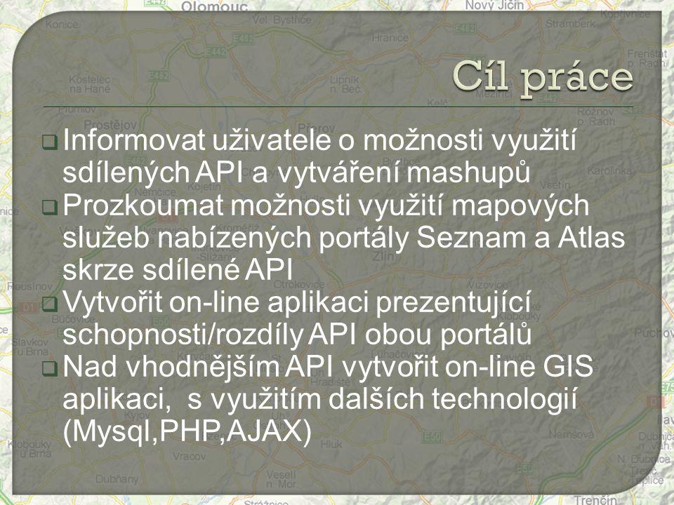  Informovat uživatele o možnosti využití sdílených API a vytváření mashupů  Prozkoumat možnosti využití mapových služeb nabízených portály Seznam a Atlas skrze sdílené API  Vytvořit on-line aplikaci prezentující schopnosti/rozdíly API obou portálů  Nad vhodnějším API vytvořit on-line GIS aplikaci, s využitím dalších technologií (Mysql,PHP,AJAX)