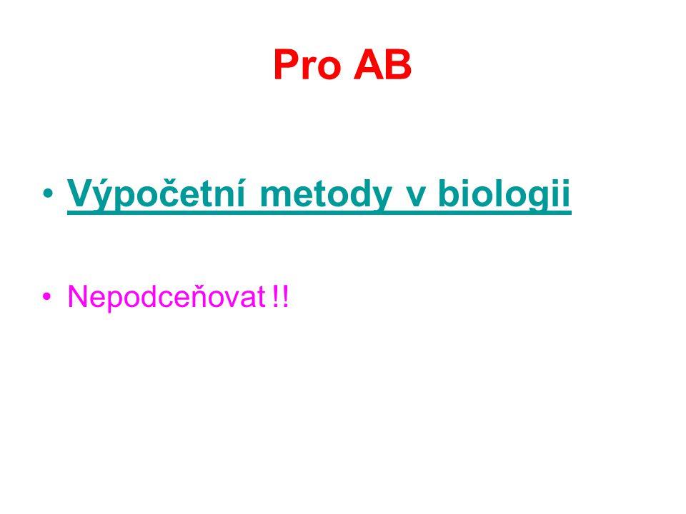 Pro AB Výpočetní metody v biologii Nepodceňovat !!