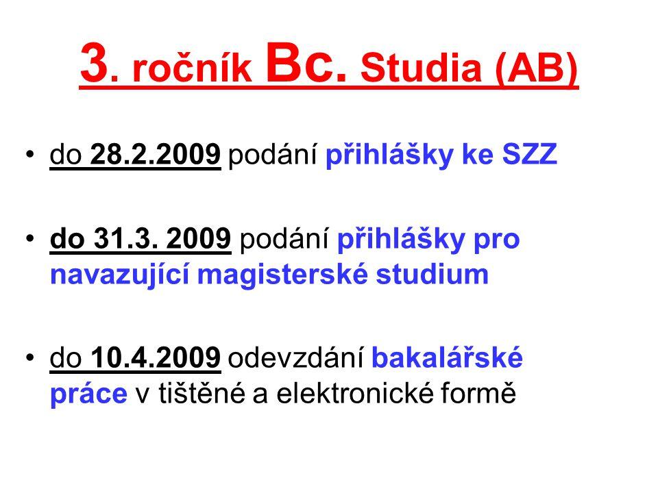 3. ročník Bc. Studia (AB) do 28.2.2009 podání přihlášky ke SZZ do 31.3. 2009 podání přihlášky pro navazující magisterské studium do 10.4.2009 odevzdán