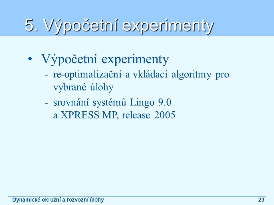 5. Výpočetní experimenty _______________________________________________________________________________________ Dynamické okružní a rozvozní úlohy23