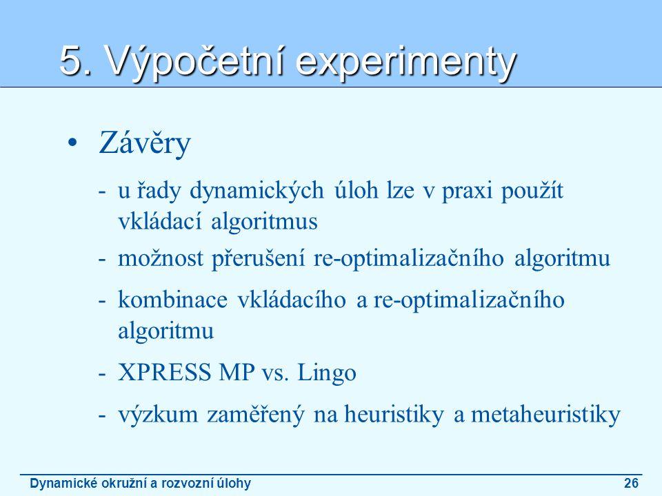 5. Výpočetní experimenty _______________________________________________________________________________________ Dynamické okružní a rozvozní úlohy26