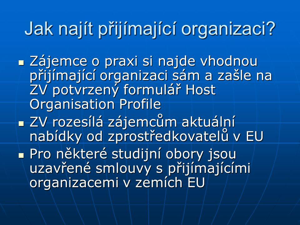 Jak najít přijímající organizaci.