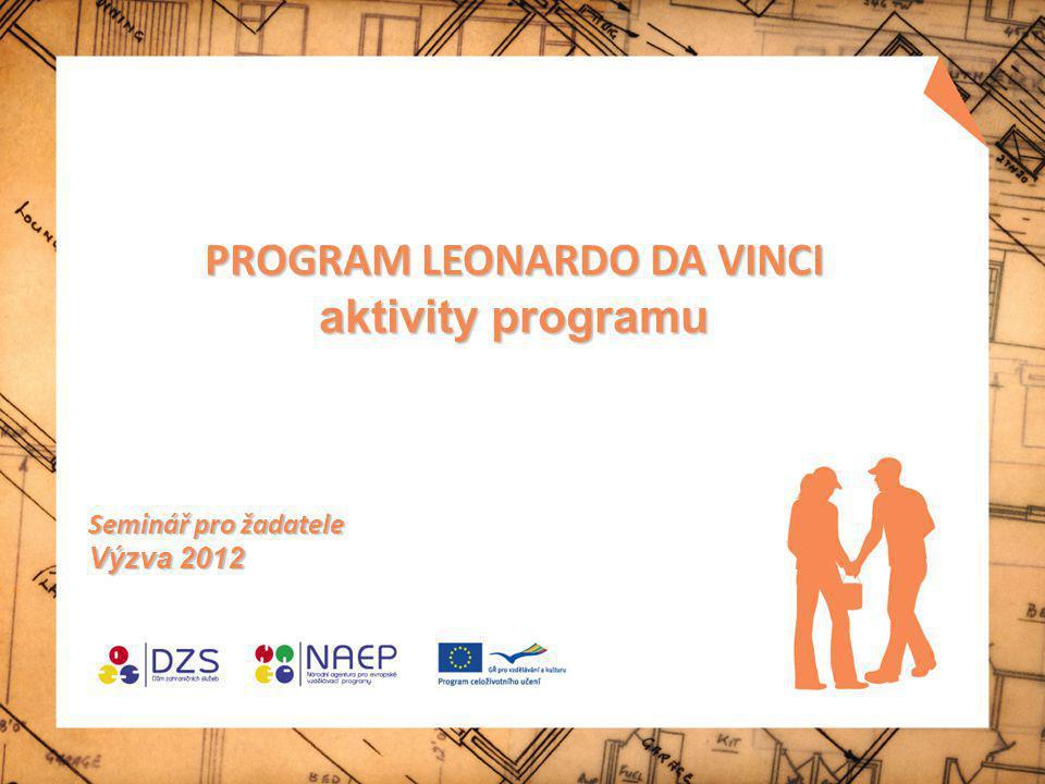 PROGRAM LEONARDO DA VINCI aktivity programu Seminář pro žadatele Výzva 2012