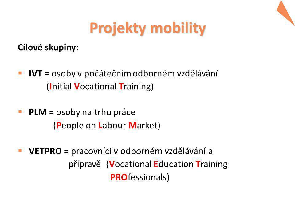 Projekty mobility Cílové skupiny:  IVT = osoby v počátečním odborném vzdělávání (Initial Vocational Training)  PLM = osoby na trhu práce (People on Labour Market)  VETPRO = pracovníci v odborném vzdělávání a přípravě (Vocational Education Training PROfessionals)