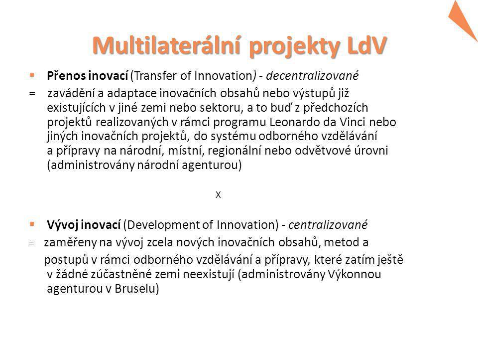 Multilaterální projekty LdV  Přenos inovací (Transfer of Innovation) - decentralizované = zavádění a adaptace inovačních obsahů nebo výstupů již existujících v jiné zemi nebo sektoru, a to buď z předchozích projektů realizovaných v rámci programu Leonardo da Vinci nebo jiných inovačních projektů, do systému odborného vzdělávání a přípravy na národní, místní, regionální nebo odvětvové úrovni (administrovány národní agenturou) X  Vývoj inovací (Development of Innovation) - centralizované = zaměřeny na vývoj zcela nových inovačních obsahů, metod a postupů v rámci odborného vzdělávání a přípravy, které zatím ještě v žádné zúčastněné zemi neexistují (administrovány Výkonnou agenturou v Bruselu)
