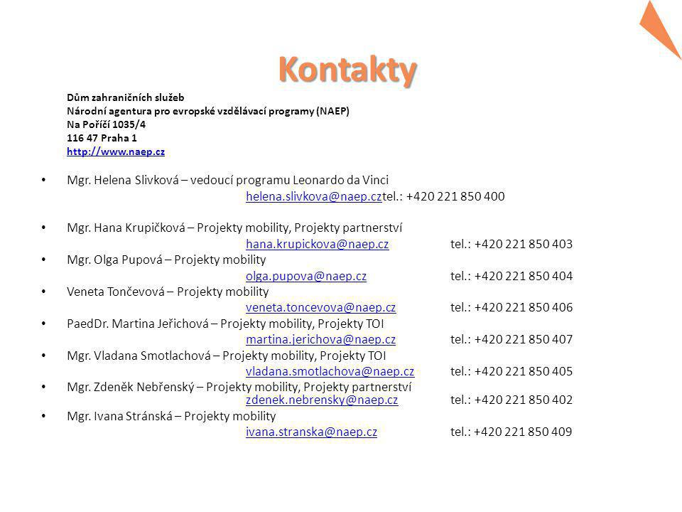 Kontakty Dům zahraničních služeb Národní agentura pro evropské vzdělávací programy (NAEP) Na Poříčí 1035/4 116 47 Praha 1 http://www.naep.cz Mgr.