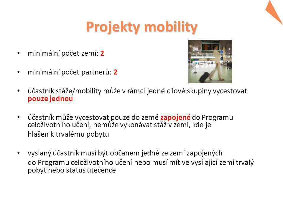 Projekty mobility minimální počet zemí: 2 minimální počet partnerů: 2 účastník stáže/mobility může v rámci jedné cílové skupiny vycestovat pouze jednou účastník může vycestovat pouze do země zapojené do Programu celoživotního učení, nemůže vykonávat stáž v zemi, kde je hlášen k trvalému pobytu vyslaný účastník musí být občanem jedné ze zemí zapojených do Programu celoživotního učení nebo musí mít ve vysílající zemi trvalý pobyt nebo status utečence