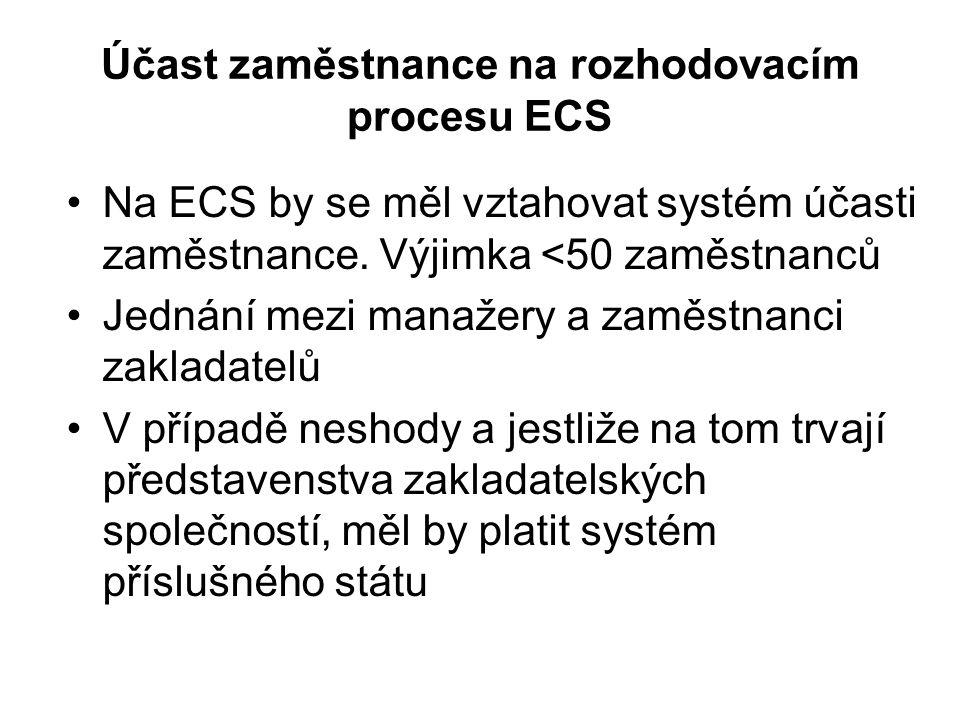 Účast zaměstnance na rozhodovacím procesu ECS Na ECS by se měl vztahovat systém účasti zaměstnance. Výjimka <50 zaměstnanců Jednání mezi manažery a za