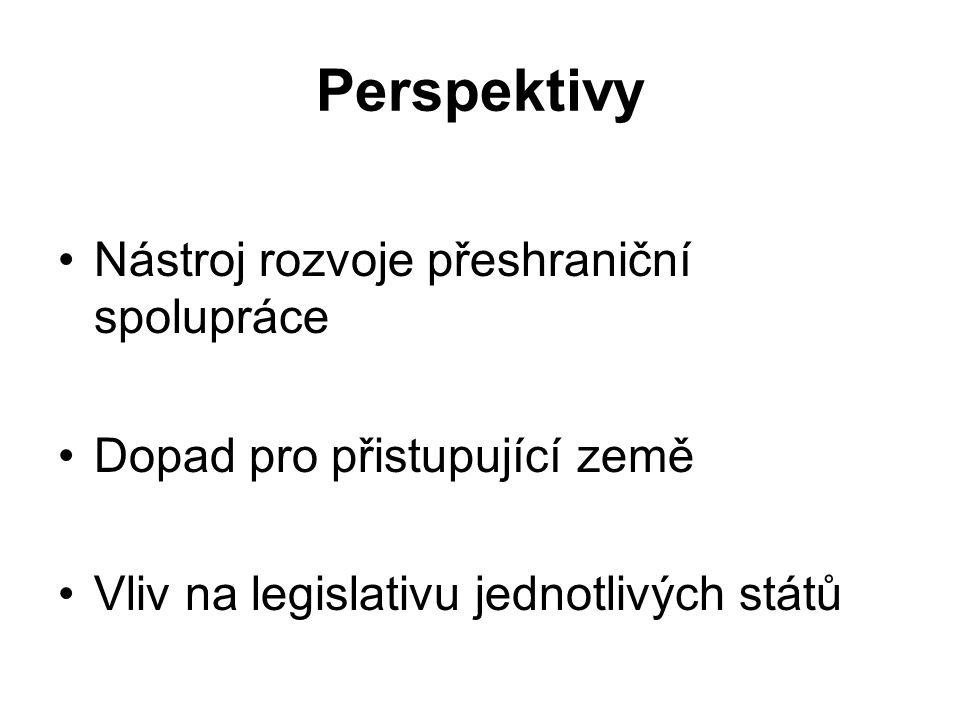 Perspektivy Nástroj rozvoje přeshraniční spolupráce Dopad pro přistupující země Vliv na legislativu jednotlivých států