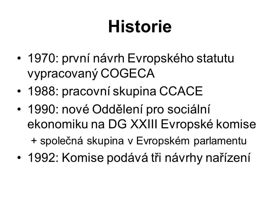 Historie 1970: první návrh Evropského statutu vypracovaný COGECA 1988: pracovní skupina CCACE 1990: nové Oddělení pro sociální ekonomiku na DG XXIII Evropské komise + společná skupina v Evropském parlamentu 1992: Komise podává tři návrhy nařízení