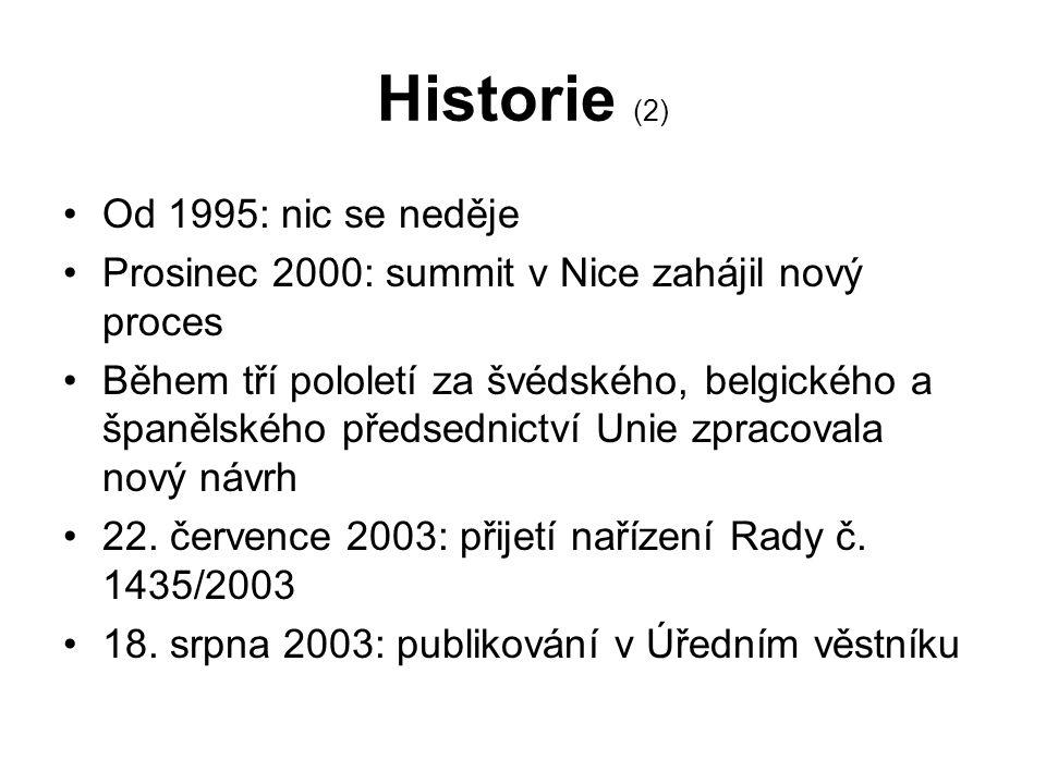 Historie (2) Od 1995: nic se neděje Prosinec 2000: summit v Nice zahájil nový proces Během tří pololetí za švédského, belgického a španělského předsednictví Unie zpracovala nový návrh 22.