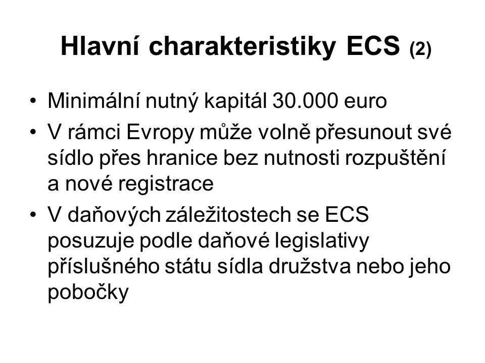 Hlavní charakteristiky ECS (2) Minimální nutný kapitál 30.000 euro V rámci Evropy může volně přesunout své sídlo přes hranice bez nutnosti rozpuštění a nové registrace V daňových záležitostech se ECS posuzuje podle daňové legislativy příslušného státu sídla družstva nebo jeho pobočky