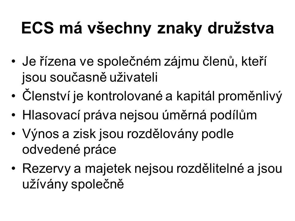 ECS má všechny znaky družstva Je řízena ve společném zájmu členů, kteří jsou současně uživateli Členství je kontrolované a kapitál proměnlivý Hlasovac
