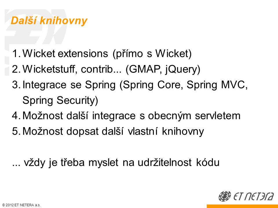 © 2012 ET NETERA a.s. Další knihovny 1.Wicket extensions (přímo s Wicket) 2.Wicketstuff, contrib...