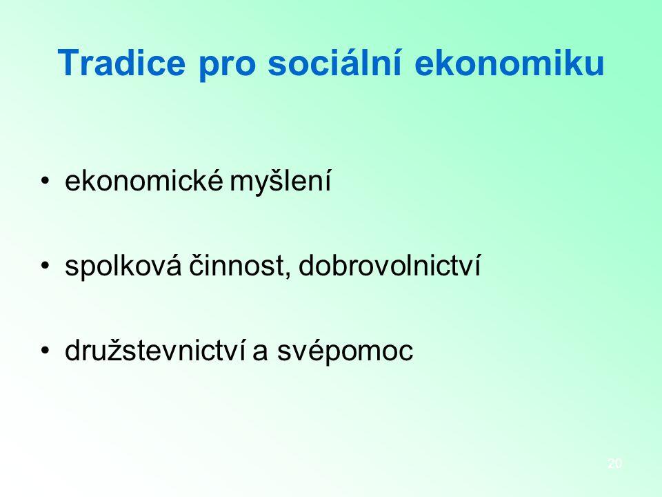20 Tradice pro sociální ekonomiku ekonomické myšlení spolková činnost, dobrovolnictví družstevnictví a svépomoc