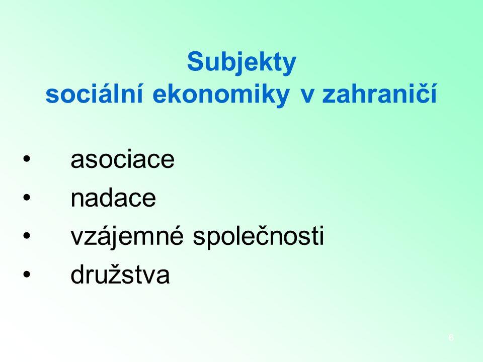 6 Subjekty sociální ekonomiky v zahraničí asociace nadace vzájemné společnosti družstva