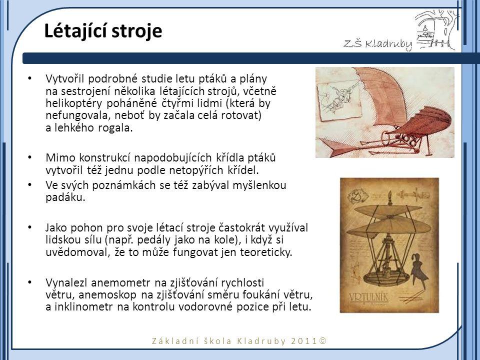Základní škola Kladruby 2011  Bojové stroje Jeho deníky obsahují též několik vynálezů vojenského charakteru, jako např.