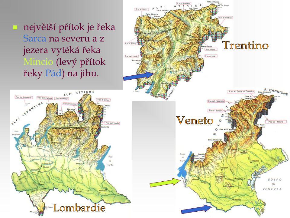 největší přítok je řeka Sarca na severu a z jezera vytéká řeka Mincio (levý přítok řeky Pád) na jihu.