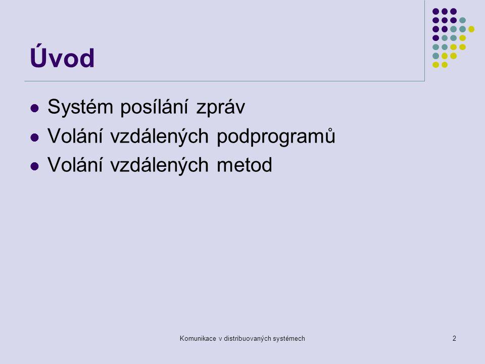 Komunikace v distribuovaných systémech2 Úvod Systém posílání zpráv Volání vzdálených podprogramů Volání vzdálených metod