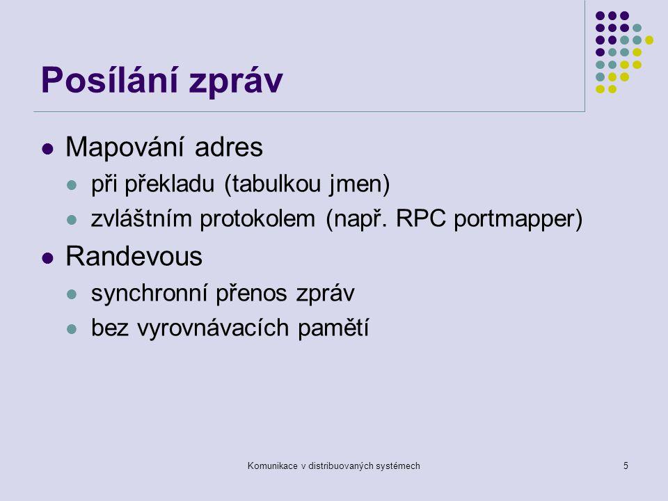 Komunikace v distribuovaných systémech5 Posílání zpráv Mapování adres při překladu (tabulkou jmen) zvláštním protokolem (např.