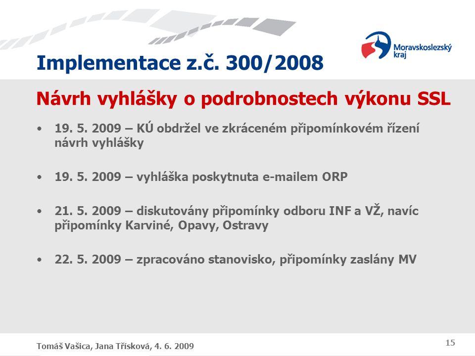Implementace z.č. 300/2008 Tomáš Vašica, Jana Třísková, 4. 6. 2009 15 Návrh vyhlášky o podrobnostech výkonu SSL 19. 5. 2009 – KÚ obdržel ve zkráceném