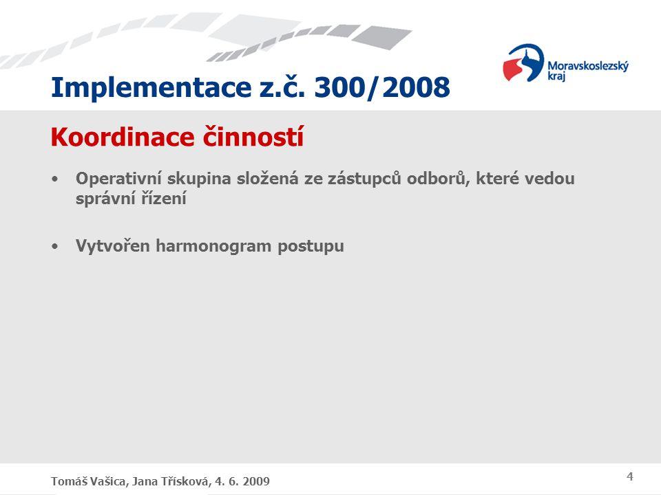 Implementace z.č. 300/2008 Tomáš Vašica, Jana Třísková, 4. 6. 2009 4 Koordinace činností Operativní skupina složená ze zástupců odborů, které vedou sp