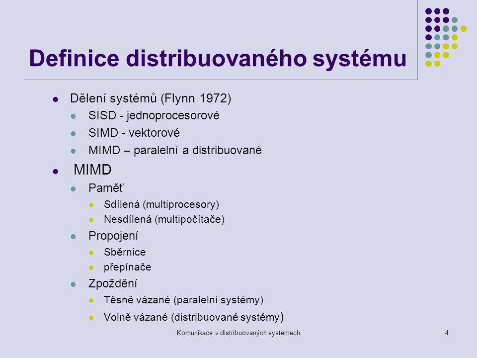 Komunikace v distribuovaných systémech4 Definice distribuovaného systému Dělení systémů (Flynn 1972) SISD - jednoprocesorové SIMD - vektorové MIMD – paralelní a distribuované MIMD Paměť Sdílená (multiprocesory) Nesdílená (multipočítače) Propojení Sběrnice přepínače Zpoždění Těsně vázané (paralelní systémy) Volně vázané (distribuované systémy )