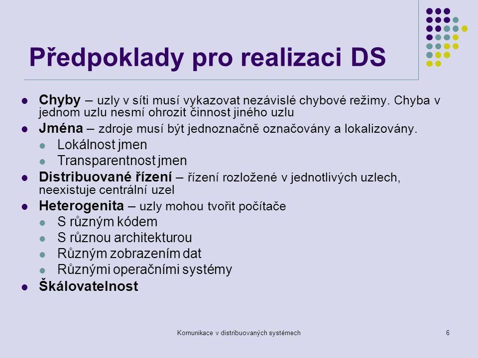Komunikace v distribuovaných systémech6 Předpoklady pro realizaci DS Chyby – uzly v síti musí vykazovat nezávislé chybové režimy.