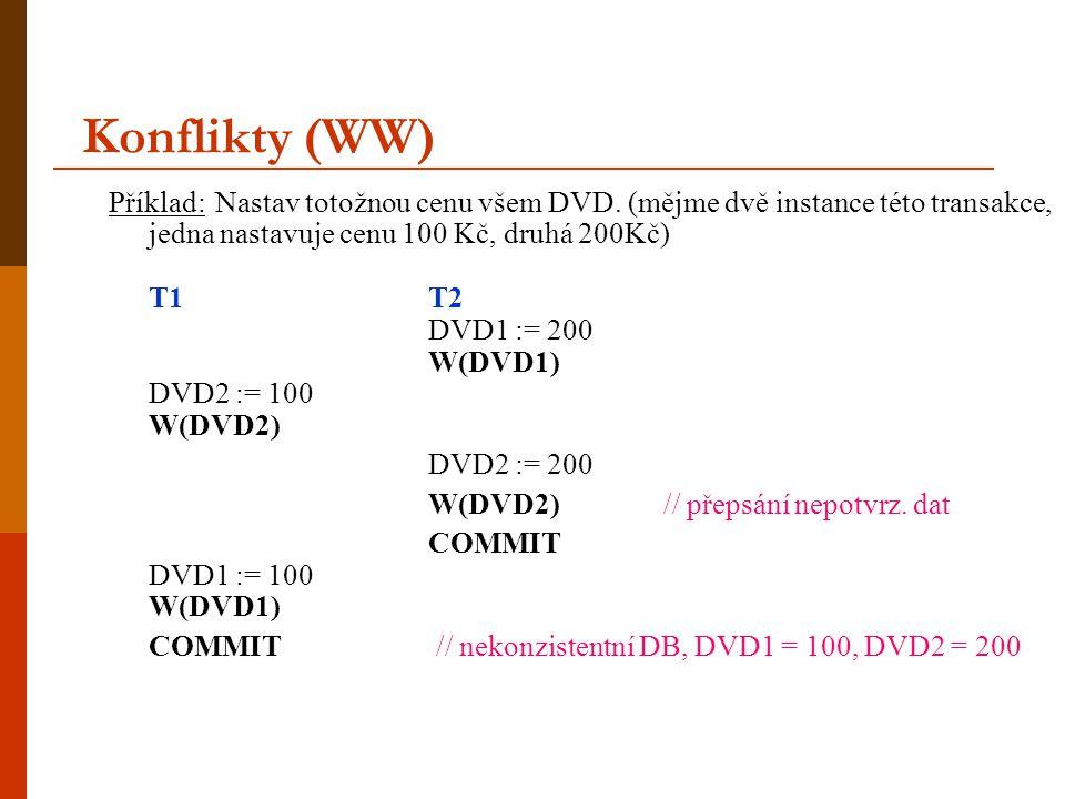 Konflikty (WW) Příklad: Nastav totožnou cenu všem DVD. (mějme dvě instance této transakce, jedna nastavuje cenu 100 Kč, druhá 200Kč) T1T2 DVD1 := 200