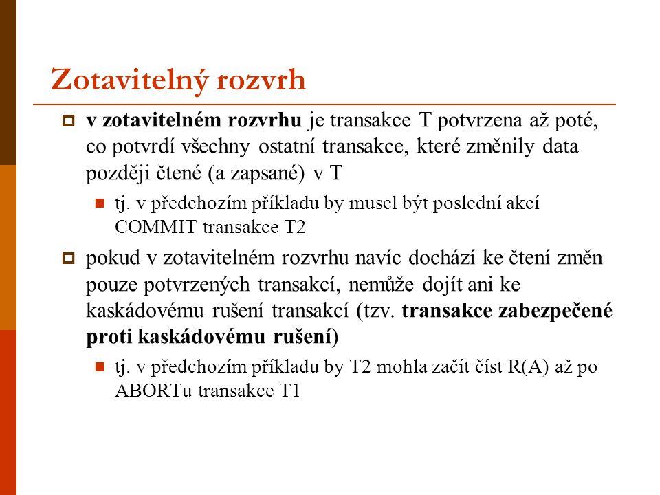Zotavitelný rozvrh  v zotavitelném rozvrhu je transakce T potvrzena až poté, co potvrdí všechny ostatní transakce, které změnily data později čtené (