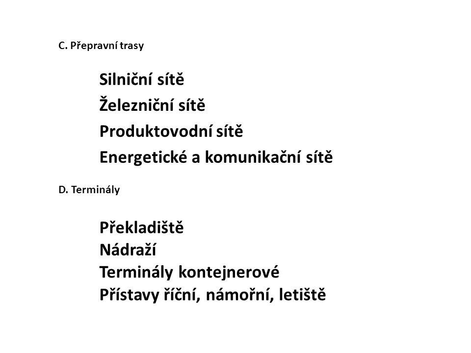 C. Přepravní trasy Silniční sítě Železniční sítě Produktovodní sítě Energetické a komunikační sítě D. Terminály Překladiště Nádraží Terminály kontejne