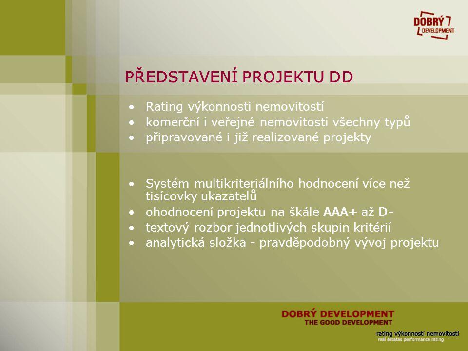 PŘEDSTAVENÍ PROJEKTU DD Rating výkonnosti nemovitostí komerční i veřejné nemovitosti všechny typů připravované i již realizované projekty Systém multi