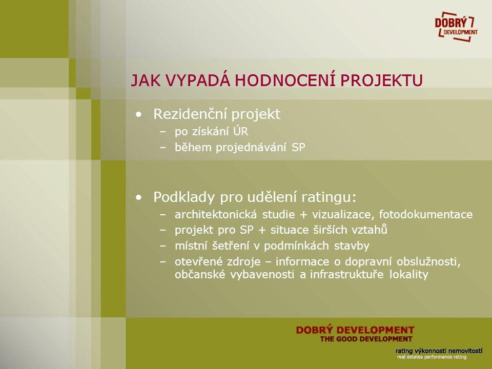 JAK VYPADÁ HODNOCENÍ PROJEKTU Rezidenční projekt –po získání ÚR –během projednávání SP Podklady pro udělení ratingu: –architektonická studie + vizuali