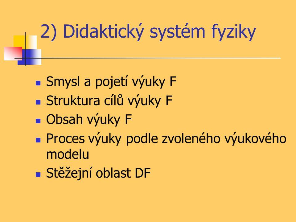 2) Didaktický systém fyziky Smysl a pojetí výuky F Struktura cílů výuky F Obsah výuky F Proces výuky podle zvoleného výukového modelu Stěžejní oblast