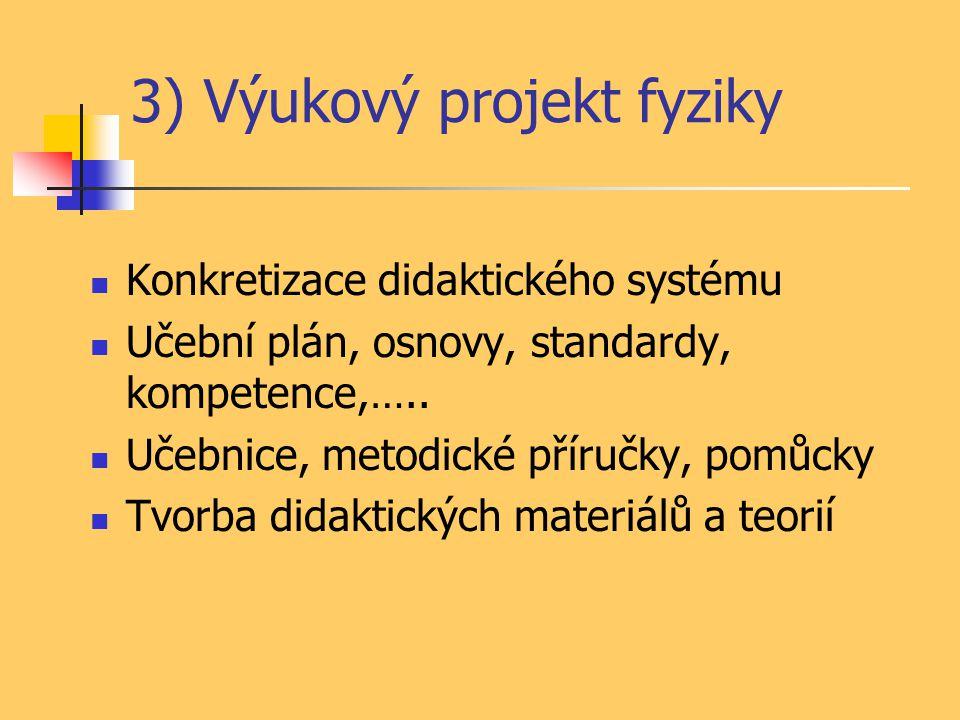 3) Výukový projekt fyziky Konkretizace didaktického systému Učební plán, osnovy, standardy, kompetence,….. Učebnice, metodické příručky, pomůcky Tvorb