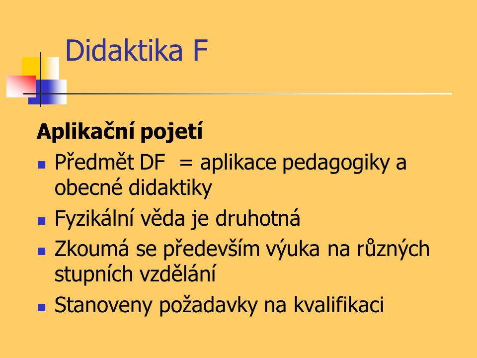 Didaktika F Aplikační pojetí Předmět DF = aplikace pedagogiky a obecné didaktiky Fyzikální věda je druhotná Zkoumá se především výuka na různých stupn