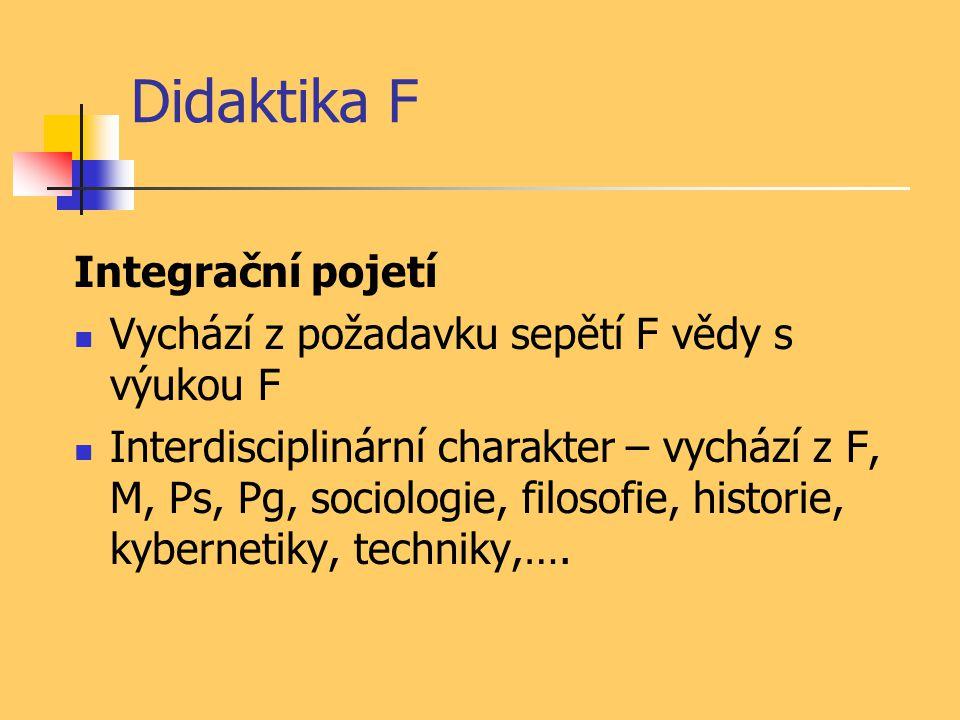 Didaktika F Komunikační pojetí Důraz na uspořádání informací (=fyzikálních poznatků) a proces jejich předávání a osvojení (=společenská komunikace) Zahrnuje v sobě integrační pojetí Je východiskem pro současné vymezení DF jako vědy
