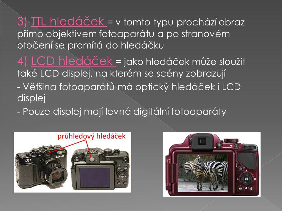 3) TTL hledáček = v tomto typu prochází obraz přímo objektivem fotoaparátu a po stranovém otočení se promítá do hledáčku 4) LCD hledáček = jako hledáč