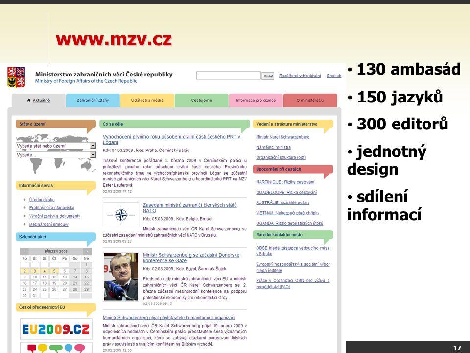 Y36SDO Úvod do problematiky content management systémů (CMS) 16 SAP Obchodní oddělení 28 různých webů Flash, spravuje reklamka Segmenta ce obsahu multijazyčnost vyhledávání 50tis dokumentů dynamická navigace tuto stránku edituje 20lidí, jeden schvaluje Personalizace..a navíc - editace laiky - zachování designu, validity - SEO - rychlost - každé dva roky redesign