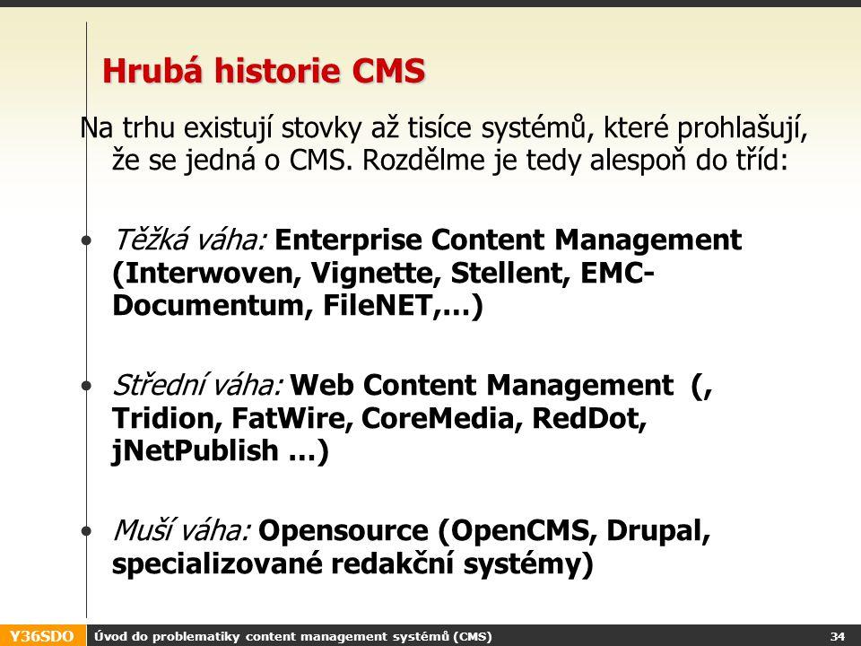 Y36SDO Úvod do problematiky content management systémů (CMS) 33 Vývoj IT odvětví CMS Od roku 1995 velmi bouřlivý vývoj.