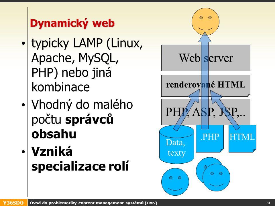 Y36SDO Úvod do problematiky content management systémů (CMS) 8 Klasický web HTML a web server Extrémně rychlý Stabilní Vhodný do počtu jednotek stránek webmaster mění vše Web server HTML