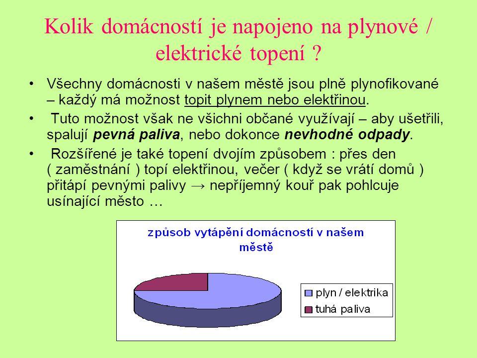 Kolik domácností je napojeno na plynové / elektrické topení .