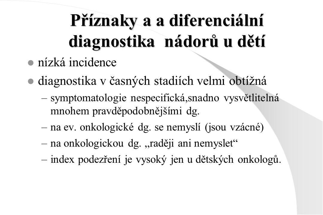Příznaky a a diferenciální diagnostika nádorů u dětí l nízká incidence l diagnostika v časných stadiích velmi obtížná –symptomatologie nespecifická,sn