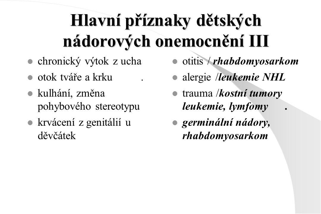 Hlavní příznaky dětských nádorových onemocnění III l chronický výtok z ucha l otok tváře a krku. l kulhání, změna pohybového stereotypu l krvácení z g